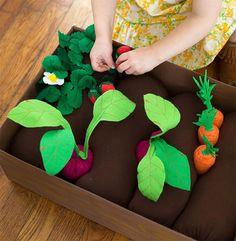 Caixa de vegetais em feltro