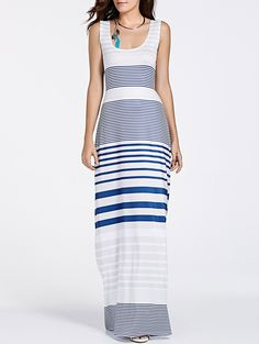 Stylish U Neck Sleeveless Cut Out Striped Maxi Dress For Women #Blue_and_White #Maxi_Dresses #Summer_Dresses #Striped_Dresses