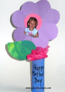 Preschool Crafts for Kids*: Mother's Day Flower Vase with Picture Craft