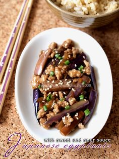 Japanese eggplants with sweet and sour sauce. Not completely Paleo but can made into it