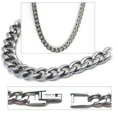 5.5mm Titanium Men's Curb Link Necklace Chain Accents Kingdom. $109.99. Material: 100% Pure Titanium. Enclosure: Fold-Over Safety Clasp. Finish: Polished. Width: 5.5mm