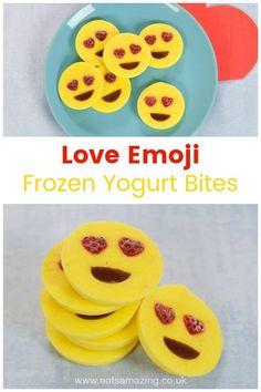 Love emoji frozen yogurt bites recipe - easy fun food idea kids can make for a fun snack or healthy dessert Healthy Breakfast For Kids, Healthy Meals For Kids, Kids Meals, Healthy Snacks, Food Art For Kids, Cooking With Kids, Emoji Theme Party, Frozen Yogurt Bites, Valentines Day Food