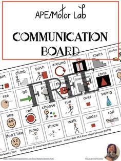 Superstars Which Are Helping Individuals Overseas Aac Users Need A Robust Communication System. Be that as it may, Sometimes Core Word Based Activity Or Topic Boards Are Useful. Here Is A Free Picture Communication Board For Motor Lab Skills. Speech Therapy Activities, Speech Language Pathology, Language Activities, Speech And Language, Gross Motor Activities, Communication System, Communication Development, Language Development, Resource Room Teacher