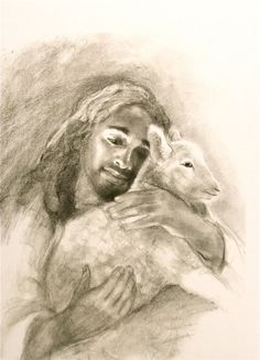 Jesus and the Lamb by ChristianArtPainting on Etsy, $20.00