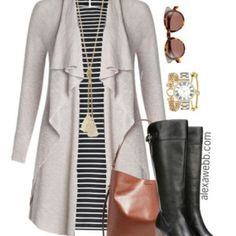 Plus Size Outfit Idea - Plus Size Fashion: Striped Dress and Wide Calf Boots - Alexa Webb