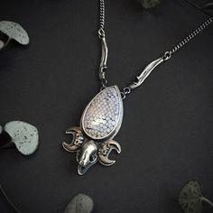 Bellatrix, Snake Skin, Bones, Skull, Pendant Necklace, Jewellery, Sterling Silver, Chain, Beautiful