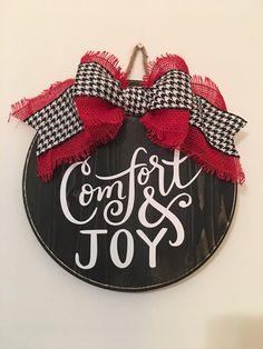 Comfort and Joy 12 Christmas / Winter Door Sign /
