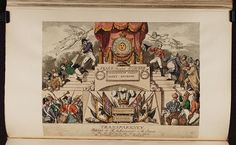 1815:Bodleian Libraries, Transparency exhibited at R Ackermanns in the Strand on the 27th Novr 1815 the day on which the general peace was celebr.Satire on the defeat of Napoleon, 1815. (British political cartoon)