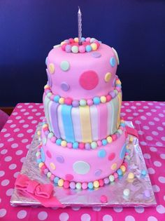 First birthday cake  Polka dot cake inside & out.  Decorated with friends, too big to cover on my own!