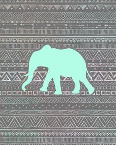 8x10 Print: Tribal Mint Elephant
