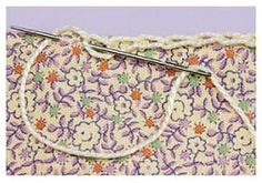 use this stitch around border and then crochet edging thru it