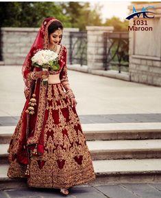 Velvet with diamond work indain designer bridal lehenga choli online shopping in canada Indian Bridal Outfits, Indian Bridal Fashion, Indian Bridal Wear, Bridal Dresses, Indian Bridal Photos, Indian Wedding Lehenga, Asian Wedding Dress, Bridal Lehenga Choli, Choli Dress