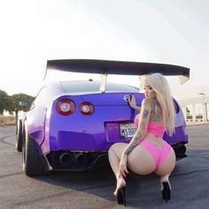 Nissan gtr and girl in pink