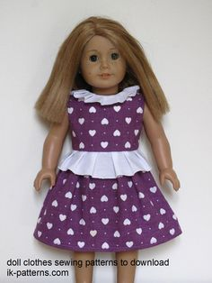 American Girl Doll clothes sewing patterns to download - DRESS COLLECTION (ik-patterns.com)