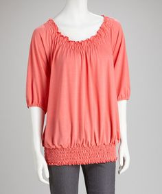 Take a look at this Coral Slit-Sleeve Peasant Top by Dynasty Fashions on #zulily today!  $14.99, regular 36.00