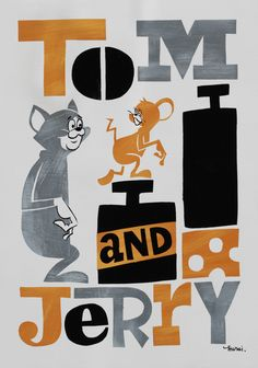 sticker & poster design for Tom & Jerry 50's anniversary「みんな大好き!! トムとジェリーの愉快な世界展」