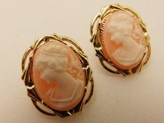 Gold Tone Pink Cameo Resin Vintage Style by TheEarringPlace