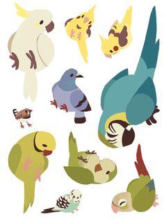 S nest art animal drawings, art ve bird drawings. Cute Animal Drawings, Bird Drawings, Cute Drawings, Posca Art, Cute Doodles, Cute Birds, Animal Design, Creature Design, Cute Illustration