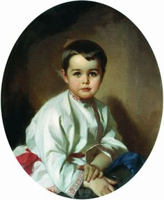 """""""Portrait of Count Pavel Sheremetev as a Child"""" -- by Ivan Kuzmich Makarov (Russian 1822 - 1897)"""