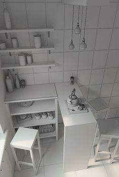 My kitchen on Behance 3d Design, Game Design, Ideal Brain, 3d Max Tutorial, Kitchen 3d Model, Maya Modeling, Maya Architecture, House 3d Model, Isometric Art