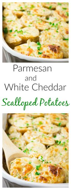 parmesan and white cheddar scalloped potatoes (Potato Recipes Scalloped) Vegetarian Recipes Easy, Gourmet Recipes, Great Recipes, Cooking Recipes, Favorite Recipes, Fancy Recipes, Gourmet Meals, Veggie Recipes, Delicious Recipes
