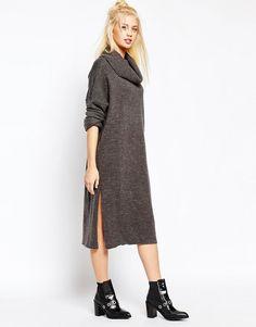 Monki Polo Neck Knitted Midi Dress
