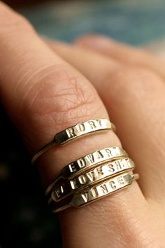 stackable name ring initial ring silver id ring gold stacking ring personalized