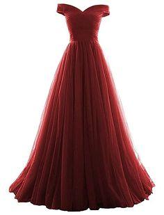 Vickyben Damen langes Ab-Schulter Tuell Prinzessin Kleid Abendkleid Ballkleid Brautjungfer kleid Party kleid: Amazon.de: Bekleidung
