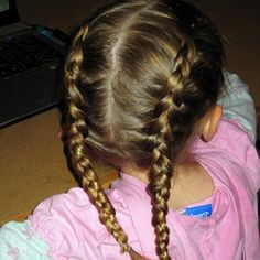 """French plait hairstyle is the most common and easy hairstyle of all. This hairstyle includes the partition of your hairRead More Intricate French Plait Hairstyles"""" French Plait Hairstyles, Toddler Braided Hairstyles, Plaits Hairstyles, Two Braids, Braids For Short Hair, Braids For Kids, Hair Styles 2014, Short Hair Styles, Reverse French Braids"""