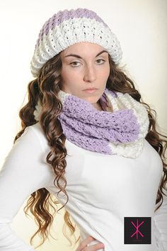Sexy Unique Hat... Slouchy Lace hat in white and violet by KYSAA, $35.00