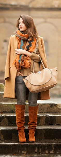 Layers , Oversized Scarf , Camel Coat , Comfy Boots with Inspiration
