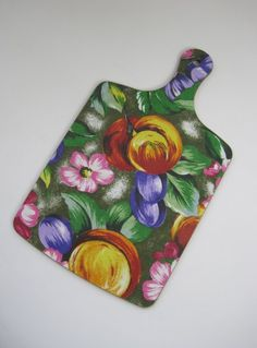 Vintage 1960s Unused Bright Floral Print Melamine Chopping Board available to buy online at Virtual Vintage Clothing £15