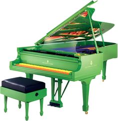 Unveiled at the 2002 Winter Olympics in Salt Lake City, Olympia embodies an abstract expression of wintery mountain forests presented in bright Promethean colors idealized by the fire of the Olympic spirit. The piano's many extraordinary features include its grassy green case in striking contrast with orange and yellow keys instead of the traditional black and whites, a clear glass music desk, an original Chihuly painting across the lid covered by a translucent glass top.