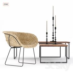 CB2 natural basket chair