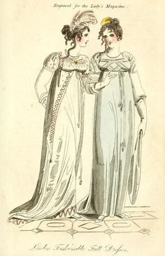 Fashion plate for August 1807 from The Lady's Magazine, or entertaining companion for the fair sex; appropriated solely to their use and amusement