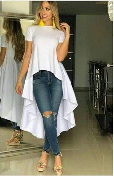 Fashion Tips Outfits high low dress .Fashion Tips Outfits high low dress . Fashion Wear, Fashion Dresses, Fashion Looks, Womens Fashion, Casual Mode, Casual Chic, Mode Kimono, Cool Outfits, Casual Outfits