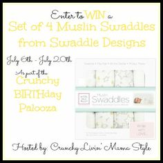 Enter to win 4 muslin swaddles from Swaddle Designs! (US/CAN, 7/20)