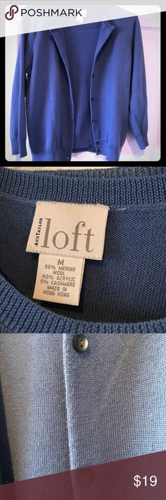 Ann Taylor Loft wool blend twinset Cardigan & sleeveless shell in Periwinkle blue. Wool blend. EUC!  3/4 sleeve cardigan with gray abalone shell buttons Sleeveless scoop neck shell Merino wool, acrylic & cashmere blend.  Size - women's medium - runs small. Ann Taylor Factory Sweaters Cardigans