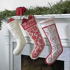 Hungarian-made felt stockings from The Company Store. . . .hearken back to my days in Kecskemet and Budapest!!! Love them and they're on sale!