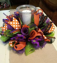 Halloween Centerpiece by Whimsy Wreaths Halloween Table Centerpieces, Candle Centerpieces, Centerpiece Decorations, Halloween Decorations, Fall Decorations, Candles, Dollar Store Halloween, Halloween Items, Easy Halloween