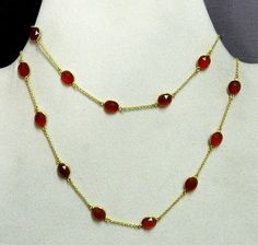 Vintage Style Red Onyx Brass 18k Gold Plated Long Chain Fashion Jewelry Necklace #Handmade #Chain