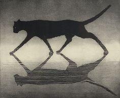 """""""Dark Flower""""    - Fine art etching  - Cat"""