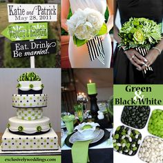 black white green color pattern reception ideas | black-white-and-green-wedding-colors.jpg
