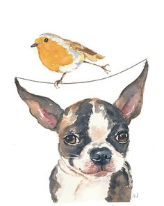 Dog Watercolor 8x10 PRINT Boston Terrier by WaterInMyPaint, $18.00