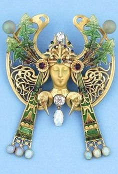 Art Nouveau enamelled gold, diamond and pearl brooch-pendant by Luis Masriera, c.1900 | JV