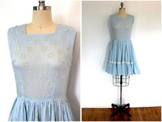 1960s Day Dress / Pastel Blue Sundress / Flocked Hearts / from ThisBlueBird.