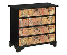 Como' a 4 cassetti in legno Klimt nero - 76x72x36 cm