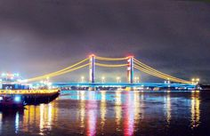 beautiful ampera bridge, night view
