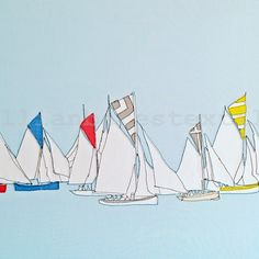 'Falmouth working boats' Embroidered Commission 2014