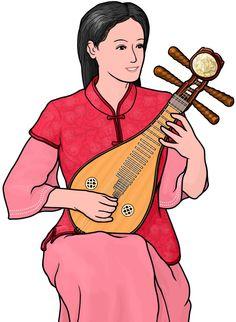 リウチン(柳琴)を演奏する女性。liuqin / chinese stringed instrument.